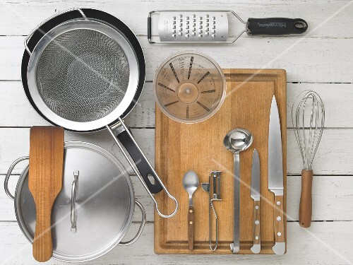 Kitchen utensils for preparing Flädlesuppe (Swabian soup made with pancake strips)