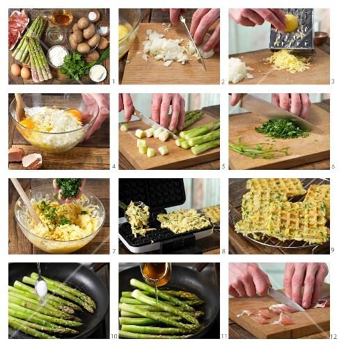 How to prepare glazed asparagus with potato waffles
