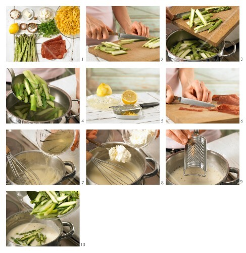 How to prepare asparagus pasta with Grisons air-dried beef