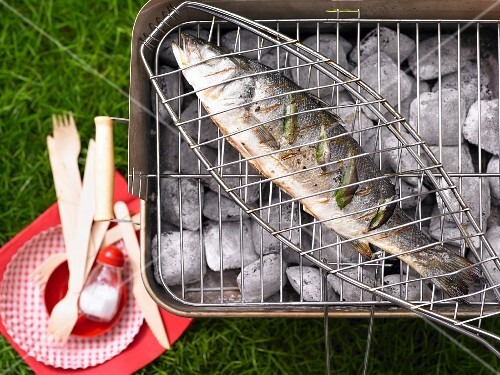 Bass on a charcoal barbecue