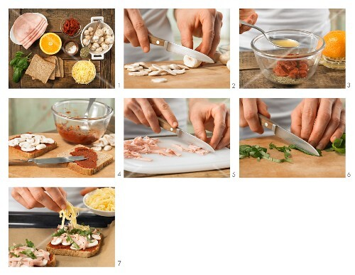 How to prepare pizza toast with mushrooms and ham topped with melted cheese