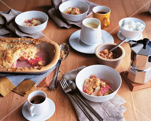 Rhubarb & apple crumble served with coffee