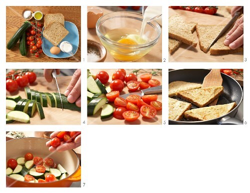 How to prepare fan-fried slices of toast with courgette and cherry tomatoes