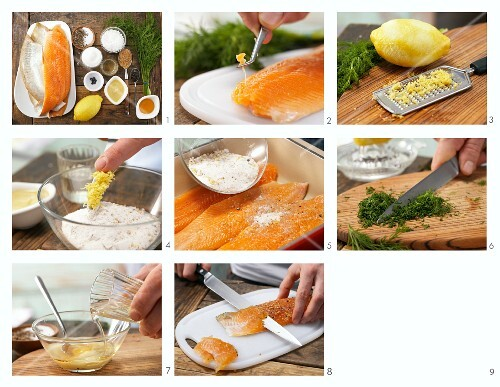 How to prepare pickled char fillets with honey and mustard sauce