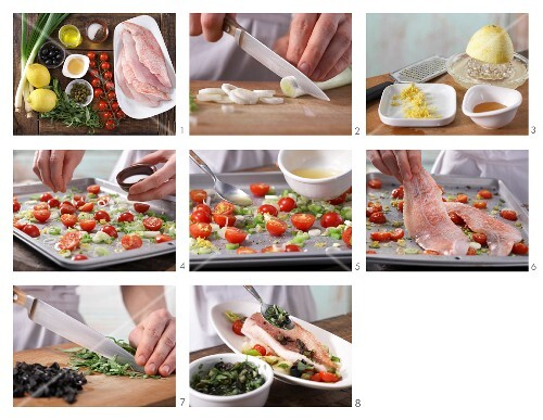 How to prepare rose fish fillets with cherry tomatoes and olive and tarragon sauce