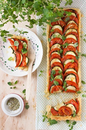 Tomato & courgette tart with oregano