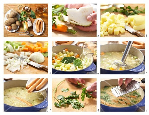 How to prepare potato soup with sausages