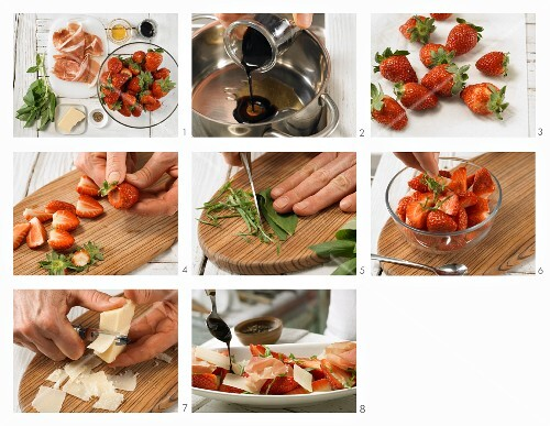 How to prepare savoury strawberries with ham and balsamic and honey syrup