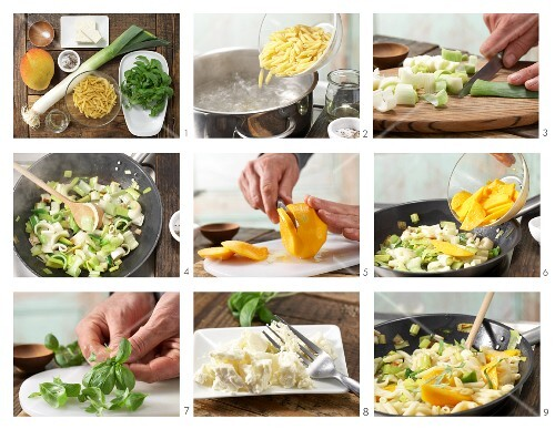 How to prepare pasta with mango, leek, sheep's cheese and basil