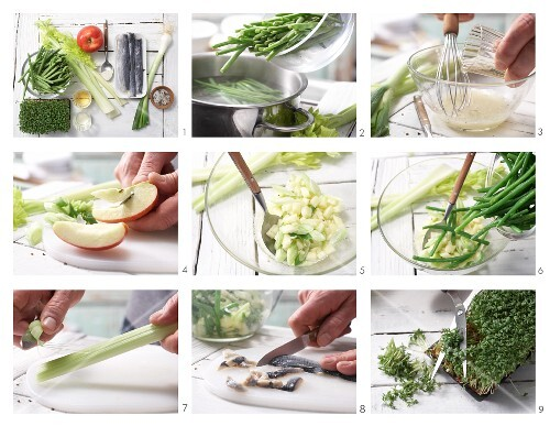 How to prepare herring and green bean salad with wasabi and apple sauce