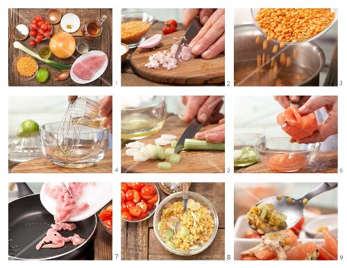 How to prepare turkey salad with grapefruit, lentils and tomato