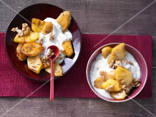 Pineapple yoghurt with banana and walnuts