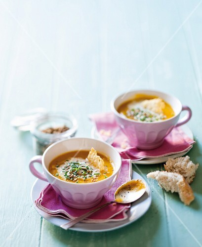 Spicy pumpkin soup with Parmesan chips