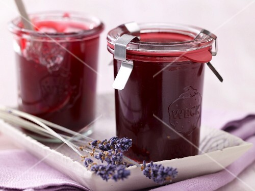 Pomegranate jam with lavender flowers