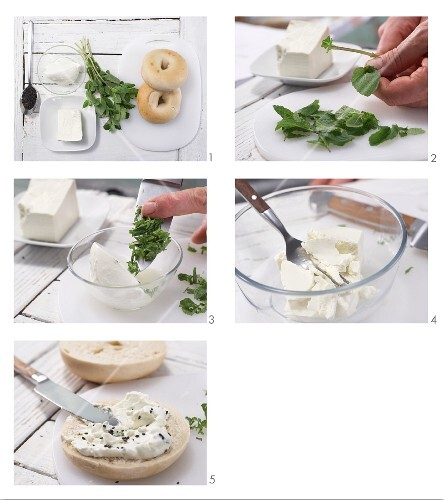 How to prepare a sheep's cheese bagel with mint and cumin