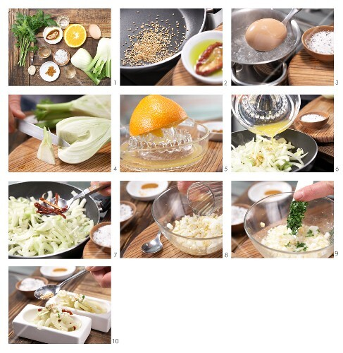 How to prepare fennel salad with parsley and egg vinaigrette and sesame seeds