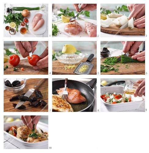 How to prepare chicken breast with vegetables and prunes