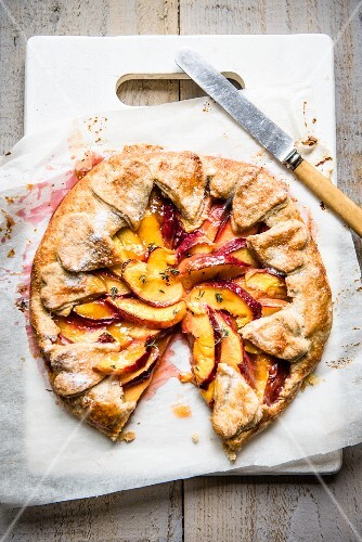 A nectarine galette with a slice removed (seen from above)