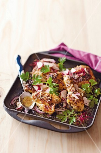 Chicken baked in honey & mustard sauce with radish and onion