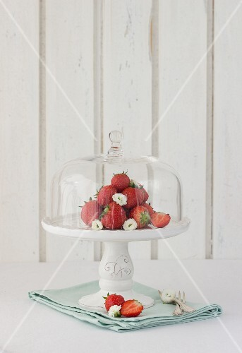 Strawberries on a cake stand