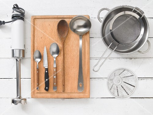 Assorted kitchen utensils for preparing soups