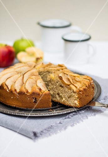 Apple cake, a piece cut