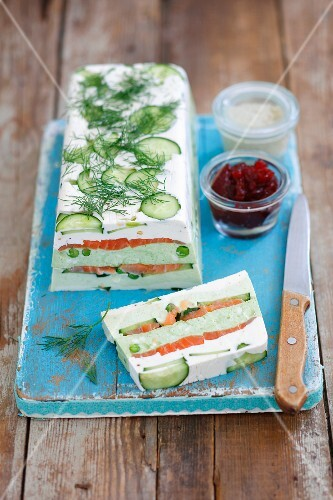 Cream cheese & pea terrine with smoked salmon and cucumber