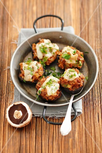 Baked portobello mushrooms stuffed with pork and beef