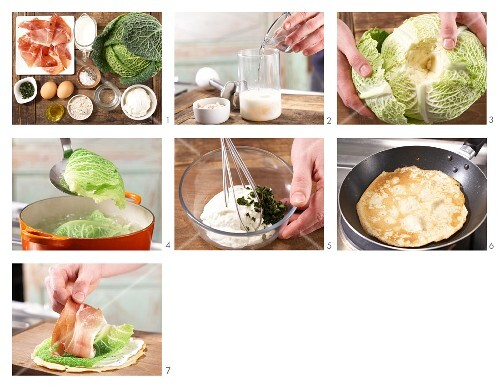 How to prepare pancake rolls with savoy cabbage and Parma ham