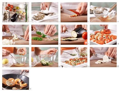 How to prepare tomato & aubergine gratin with marinated prawns