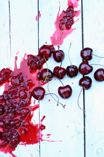 Cherries with a splodge of jam