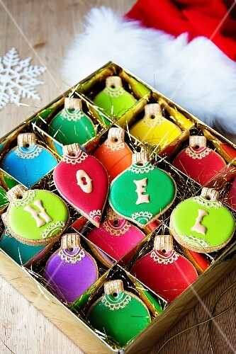Gift box of Christmas ornament cookies