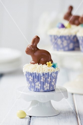 Cupcakes decorated with chocolate Easter bunnies