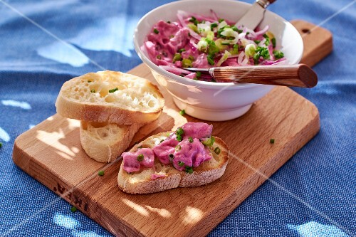 Herring salad with bread