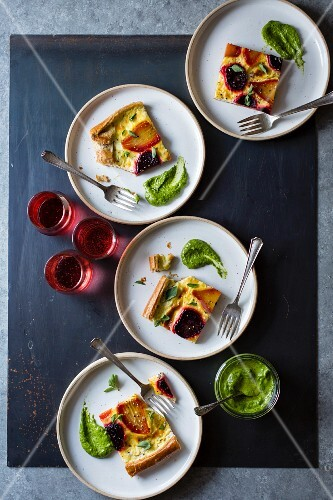 Beetroot ricotta cheese tart with beet greens pesto