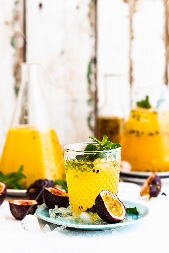 Passonfruit cocktail with mint