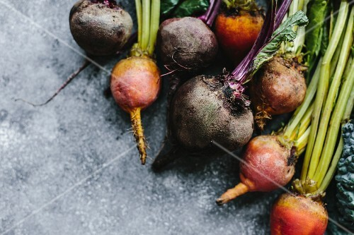 Freshly picked purple and yellow beetroots