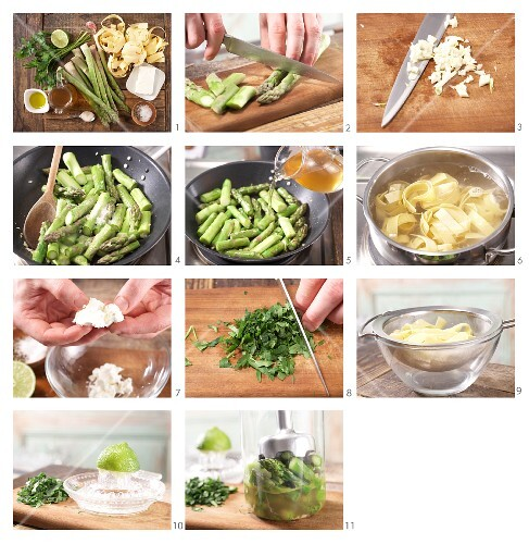 How to prepare flat ribbon pasta with green asparagus and sheep's cheese