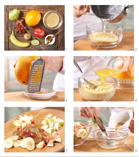 How to prepare bulgar wheat with oranges served with fruit salad