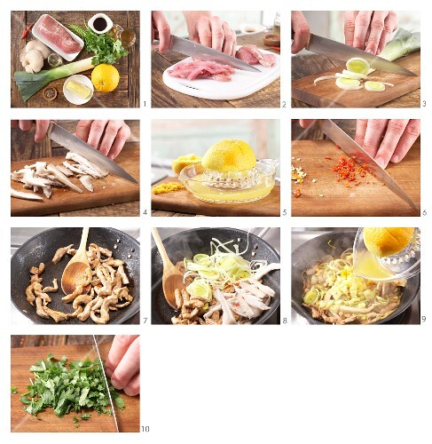 How to prepare pork strips with oyster mushrooms, pineapple and leek