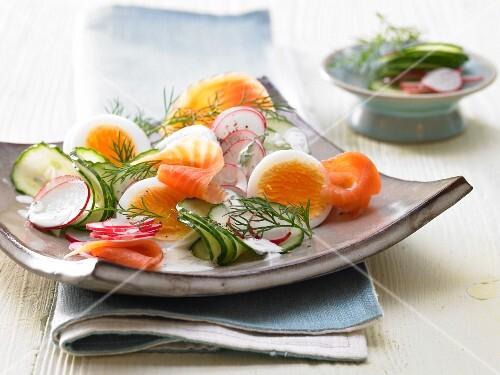 Salmon & cucumber salad with yoghurt & mustard sauce