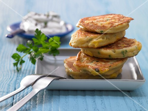 Speedy sweetcorn fritters with herb cream cheese