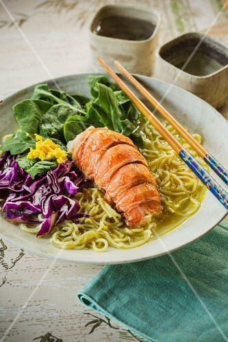 Japanese ramen soup with lobster and red cabbage