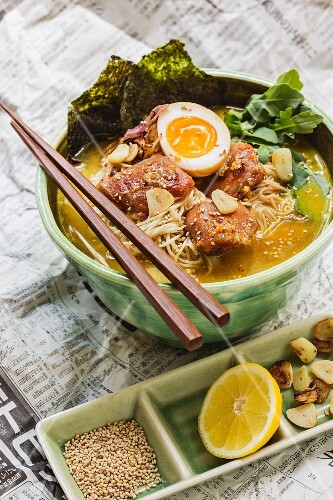 Japenese miso ramen soup with chicken and egg