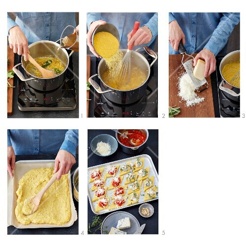 How to prepare baked polenta diamons with tomato sugo and gorgonzola