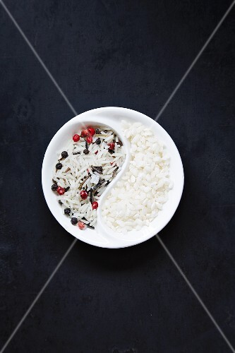 A rice mixture in a bowl (see from above)