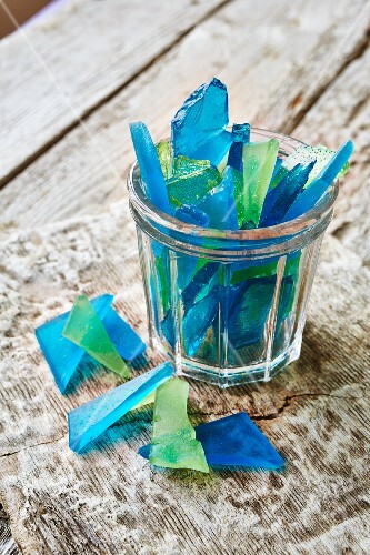 Shards of blue and green glass (ocean glass) made of sugar
