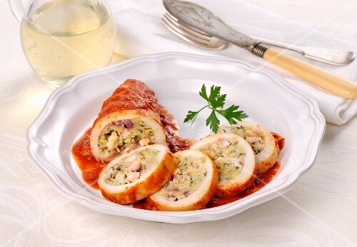Stuffed calamari in tomato sauce
