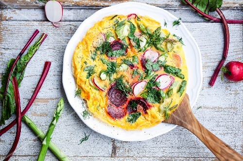 A spring frittata with asaragus, beetroot and radish