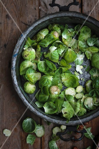 Brussels sprouts in an old metal dish